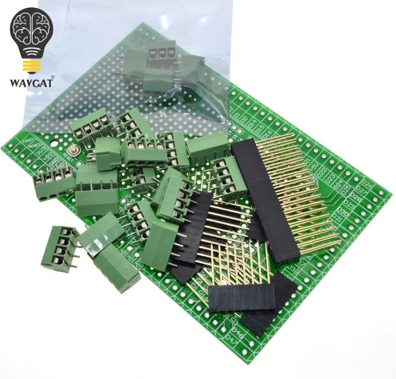 WAVGAT doble lado PCB prototipo bloque de terminales de tornillo placa Kit para MEGA-2560 Mega 2560 R3 Mega2560 R3