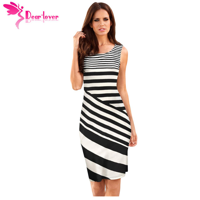 4f4ecd2ff77 Dear Lover Striped Summer Women Sheath Dress Work Office Black White  Sleeveless Midi Shift Dress Causal Vestidos Robes LC220362