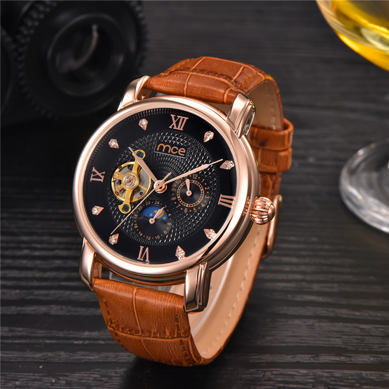 2017MCE Top Brand Luxury Men's Wrist Watch Men Military Sport Clock Male Business Skeleton Clocks Automatic Mechanical Watches xinge top brand luxury leather strap military watches male sport clock business 2017 quartz men fashion wrist watches xg1080