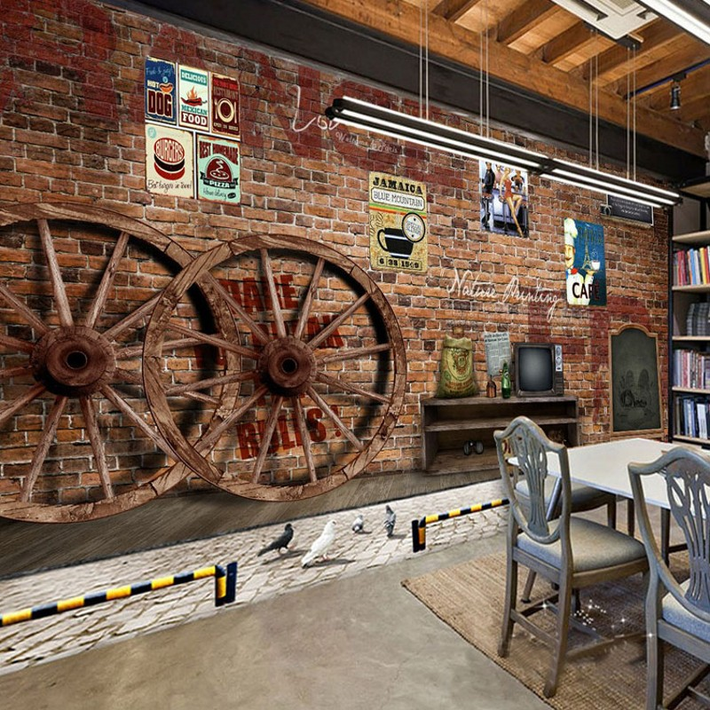 Photo Wallpaper Dining Room Old Brick Wall Wheel Background Wall