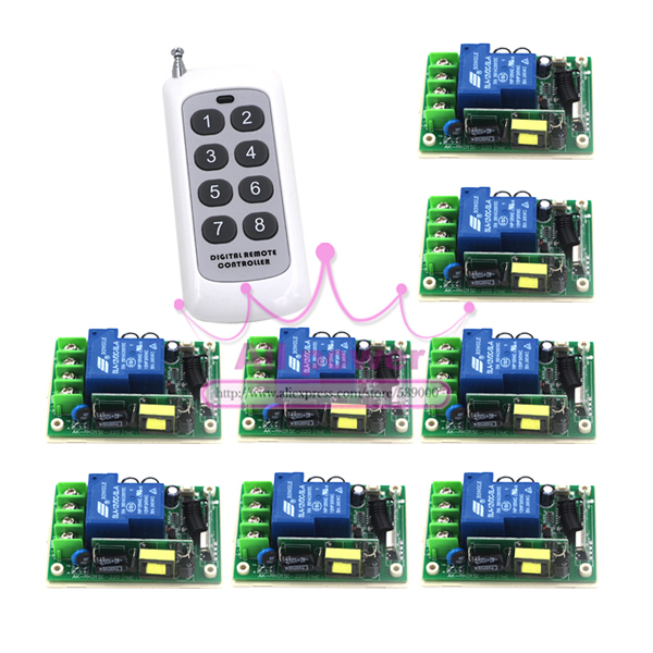 Free Shipping Wide voltage 85-250V 30A RF Wireless Remote Control 8 Switch and 1 Controller System free shipping best price wide range voltage 85v 250v 30a 1ch rf wireless remote control system 1 remote
