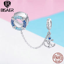 BISAER 100% 925 Sterling Silver Maritime Journey Charms Ocean Anchor Safety Chain Beads fit DIY Bracelets Jewelry Making ECC1149(China)