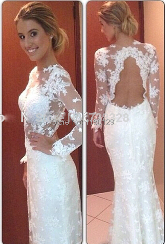 Vintage wedding dress with lace back