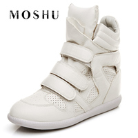 Gai 555Fashion Women Casual Shoes Wedges High Top Canvas Shoes Lace Up Trainers