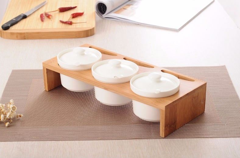 4 Piece/Set Wooden Seasoning Food Jars
