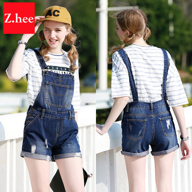 Online Shop Summer Distressed High Waist Denim Overall Shorts ...