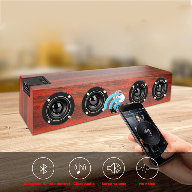 Wireless Bluetooth Speaker 20W Wooden Portable Column Bluetooth Bass Subwoofer Soundbar Handsfree for Computer Speaker Portable