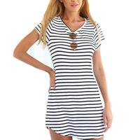 Lady V Collar Cotton Striped Short Sleeve Casual Classic T Shirt Dress One Piece Dress Casual
