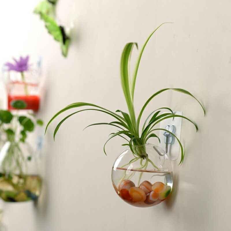 Terrarium Ball Globe Shape Clear Hanging Glass Vase  Flower Planter Pots Wall Fish Tank Aquarium Container Homw Decor