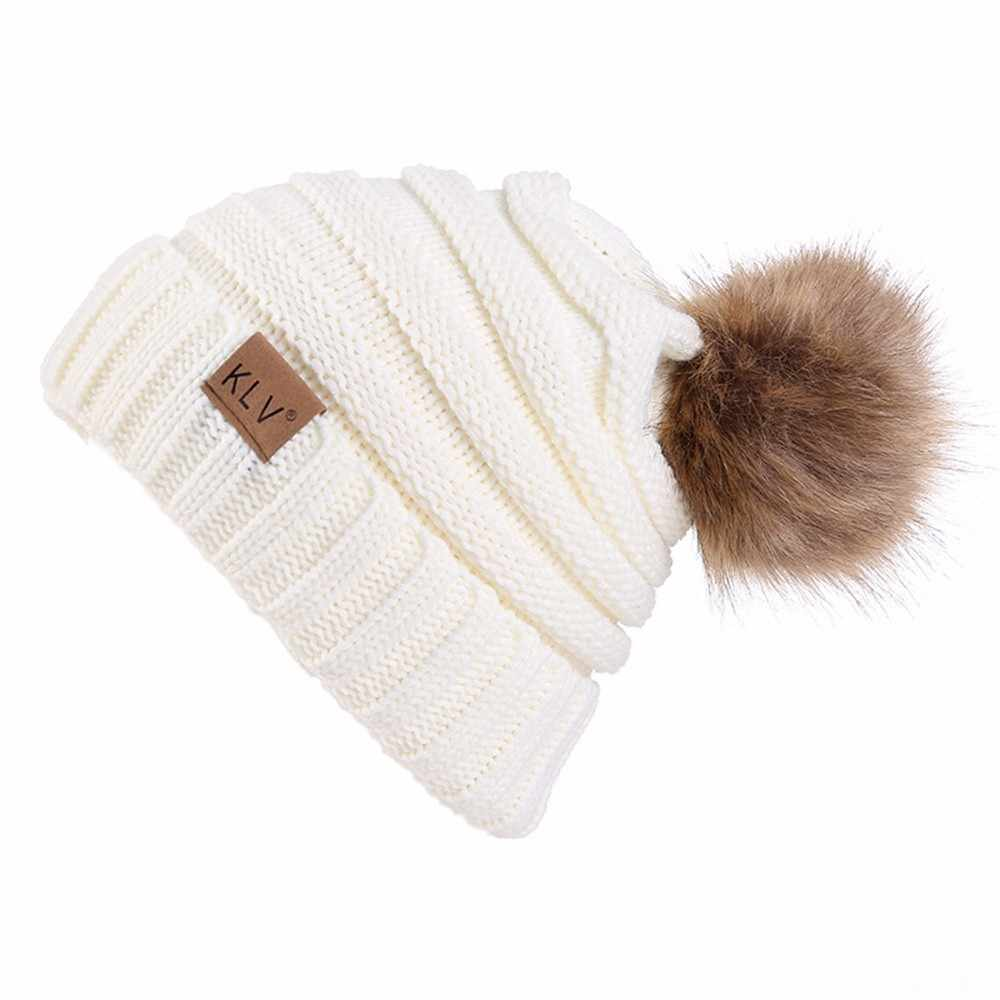 Women Winter Warm hat Beanie  with Cute Faux Fur Pom Pom Ball knitted cap Skully outdoor female casual ski caps #N