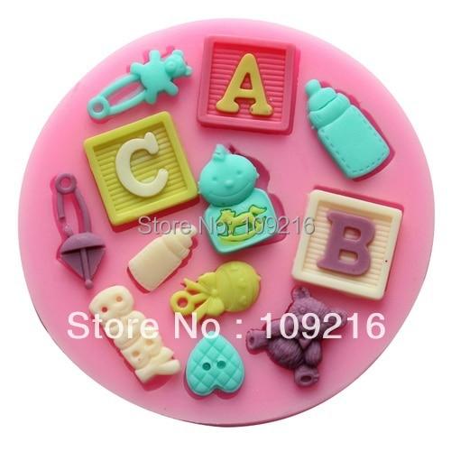 wholesale !!!1pcs Mini New Style ABC & BABY etc. (F0490) Silicone Handmade Fondant/Cake Decorating DIY Mold