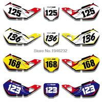 For HONDA CR125 1998 1999 CR250 1997 1998 1999 Custom Number Plate Backgrounds Graphics Sticker Decals