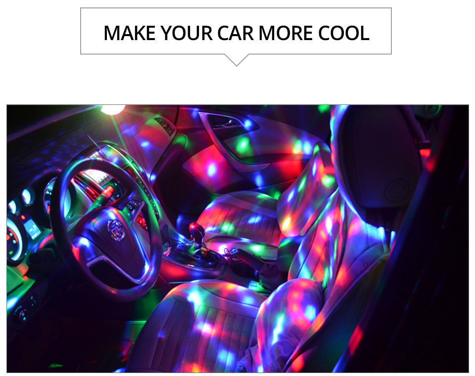 VooVoo Car USB Led Atmosphere Lights RGB LED Car Interior Rotating DJ Lights Party Decoration Lighting + Wireless Remote Control_01 (13)