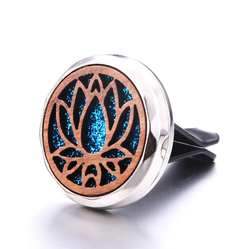 Wooden Lotus Detachable Car Air Vent Freshener Car Perfume Diffuser Car Air Clip Aromatherapy Essential Oil Locket 316L Pendant