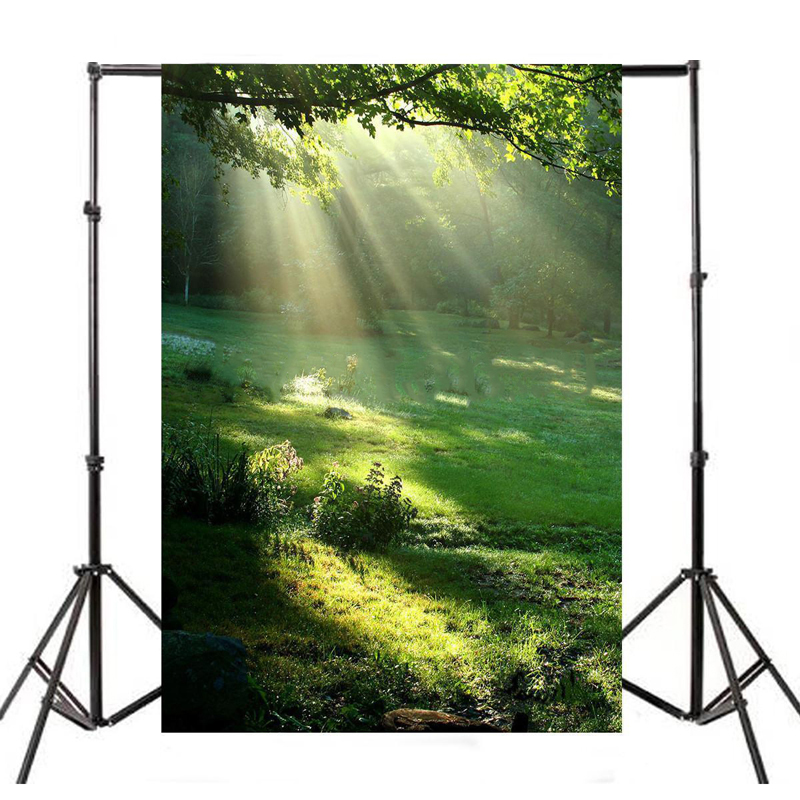 Hot Sale Mayitr 1pc Sunshine Jungle Photography Background Waterproof Nature Green Forest Tree Backdrops for Photo Studio Props