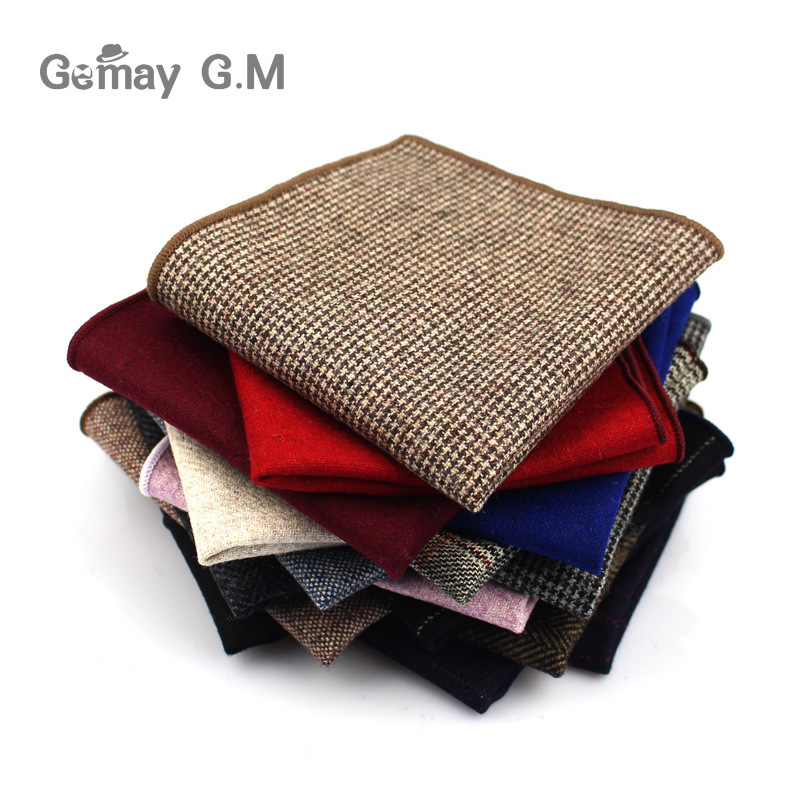 Fashion Wool Handkerchief For Men Suit Solid Pocket Square Business Hankies Classic Design Striped Hanky Plaid Pocket Towel