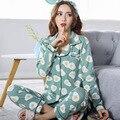 Promoção pijamas nova 2017 mulheres pajama define pijama 100% algodão sleepwear manga longa bonito cat set lounge lazer homewear