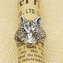 LPHZQH Vintage wolf ring Adjustable animal ring wolf head Ring For Women Men gift retro Jewellery Christmas birthday gift