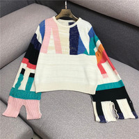 Luxury Designer Brand Knitted Sweater for Women Geometric Color Matching Split Horn Long Sleeve Bright Silk Pullover Sweater