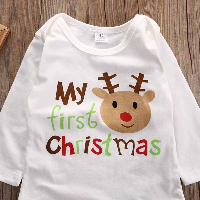 Newborn Infant Kids Baby Boys Girls Cotton Christmas Romper Jumpsuit Clothes Outfit