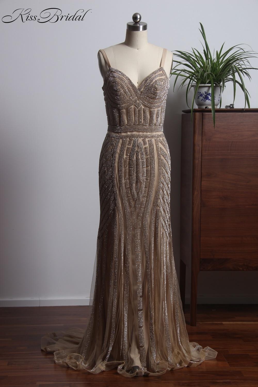 Arrival New Spaghetti Straps Long Mermaid   Prom     Dresses   V-Neck Tulle Beaded Evening Party Gown vestido amarelo de festa
