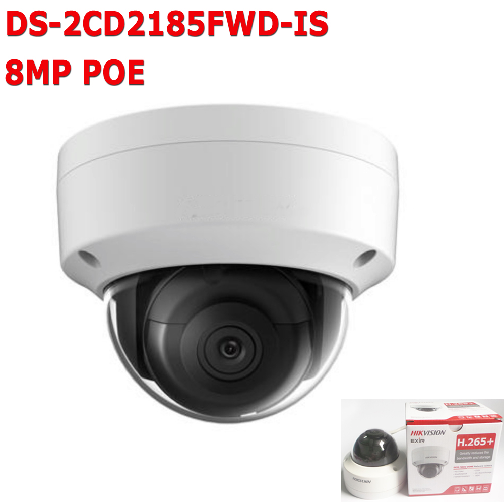 Hikvision 8MP CCTV IP Camera POE H.265 Updatable DS-2CD2185FWD-IS Network Dome Camera With Audio Alarm SD Card Slot 128G hikvision 3mp low light h 265 smart security ip camera ds 2cd4b36fwd izs bullet cctv camera poe motorized audio alarm i o ip67