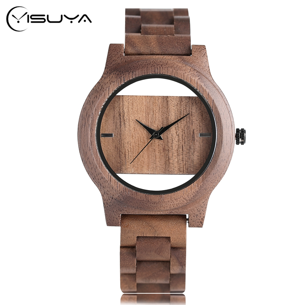 Wood Unique Wrist Watch Women Analog Hollow Bangle Nature Wood Creative Novel Fold Clasp Men Bamboo Christmas Gifts nature wood modern watch men quartz hollow bamboo women wristwatch creative analog bracelet clasp watches 2017 new fashion clock