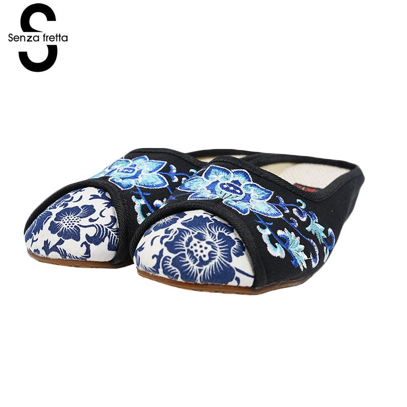 Senza Fretta Summer Women Shoes Embroidery Flat Autumn Slippers Oxford Sole Walking Shoe Vintage Beijing Cloth Shoe Slippers vintage embroidery women flats chinese floral canvas embroidered shoes national old beijing cloth single dance soft flats