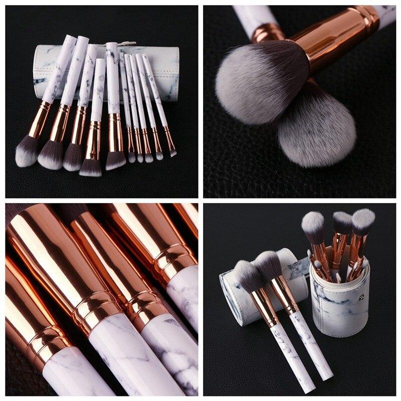 Cosmetic 11Pcs Marbling Makeup Brushes Set Powder Foundation Concealer Eyeshadow Eyebrow Face Eyes Blending Make up Brush Woman r2s