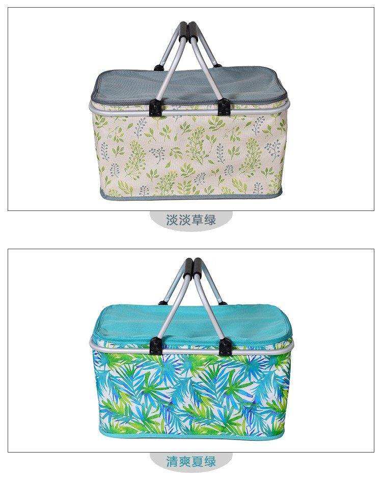 Aluminum Alloy Foldable Cooler Bag Basket Thermal Food Box Cans Fruit Storage Picnic Lunch Insulation Tote Cool Bag Package (7)