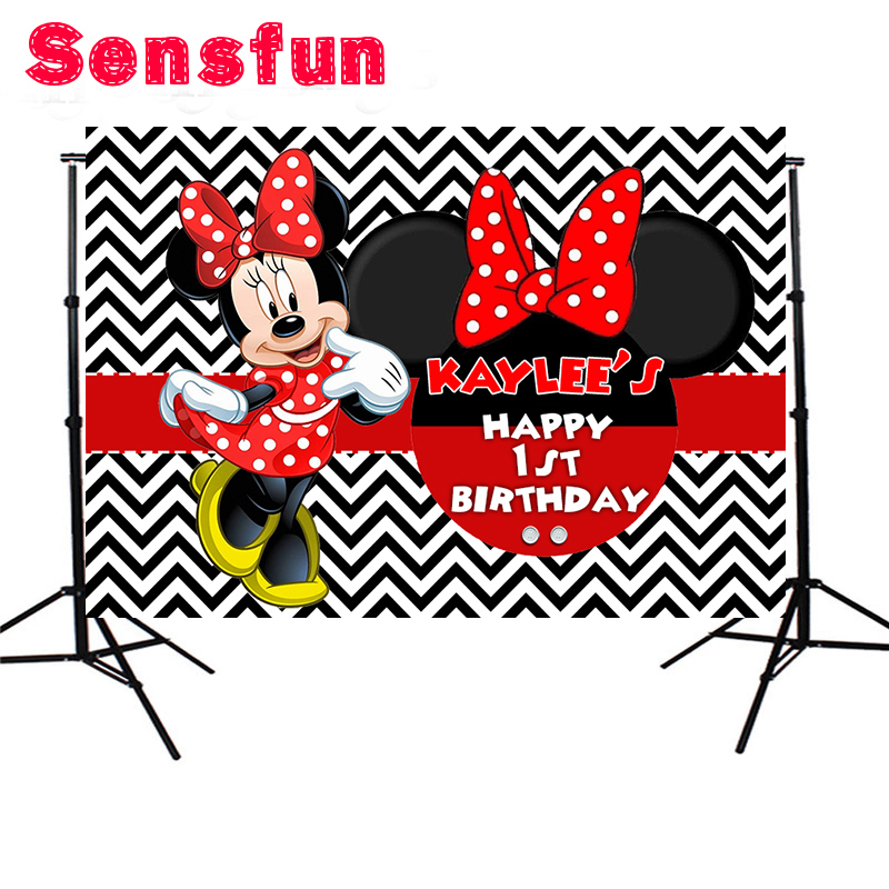 Red Minnie Dance Polka Dots Girls Birthday Party Backdrop Black And White Chevron Wall Backgrounds For Photo Studio 7x5ft