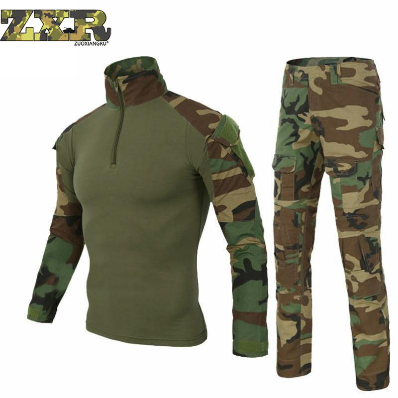Military Uniform Multicam Army Combat Shirt Uniform Tactical Pants No Knee Pads Camouflage Suit Hunting Clothes Jacket & Pants цена