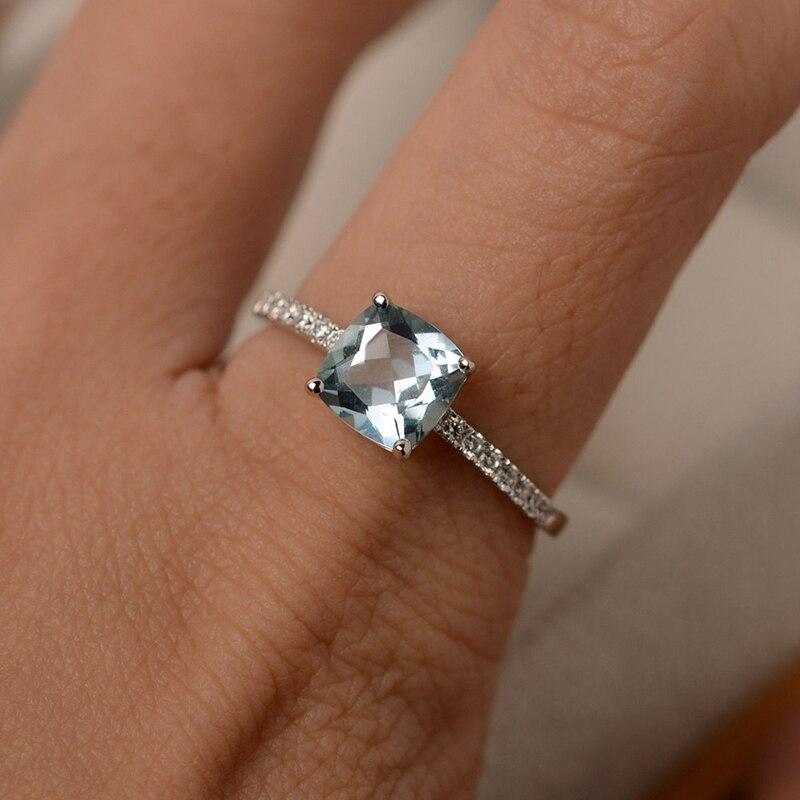 Huitan квадратная синяя серия каменных женских колец простые минималистичные мизинчиковые аксессуары кольцо группа Элегантные ювелирные обручальные кольца