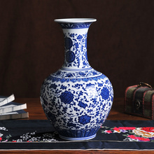 Ceramics antique blue and white porcelain vase flower home accessories fashion decoration