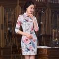 Classic Style Satin Cheongsam Vintage Chinese Women's Mini Qipao Dress Flower Mujer Vestido Size S M L XL XXL 246016