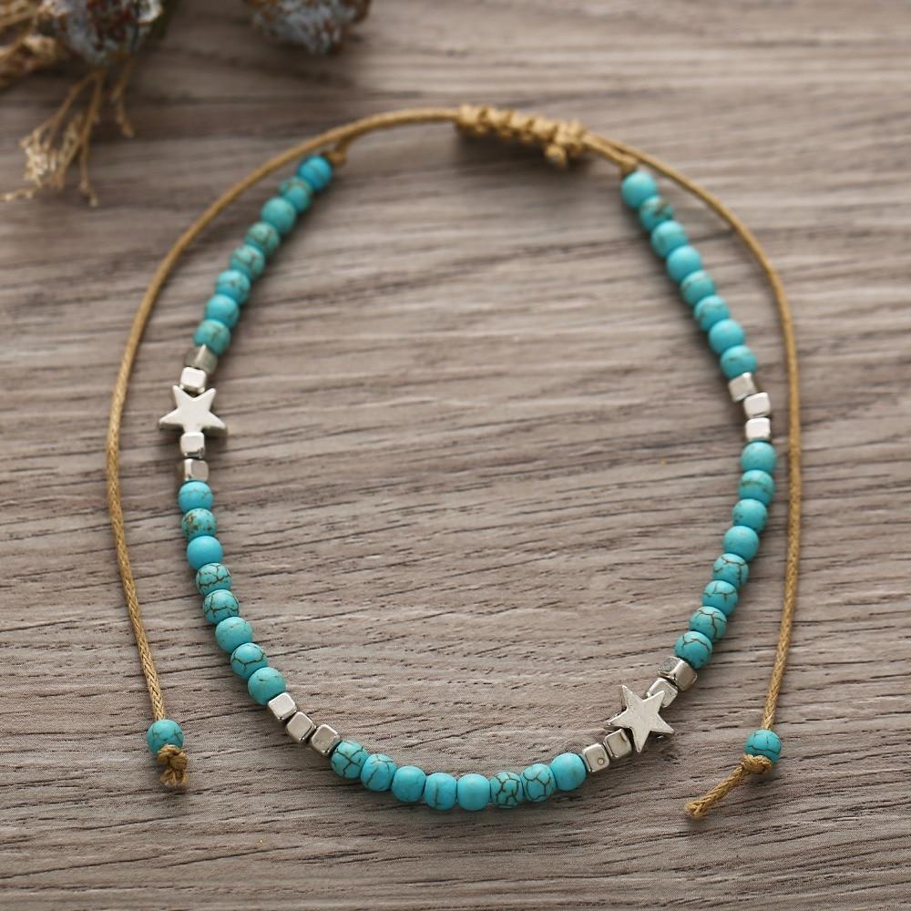 Schmuck & Zubehör Bescheiden Vintage Grün Stein Perlen Fußkettchen Für Frauen Seil Kette Ankle Sterne Quadrat Armband Auf Die Bein Schmuck