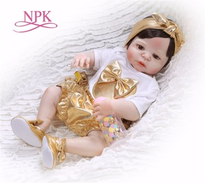 NPK New Arrival 55 cm Silicone Full Body Reborn Doll Real Life golden Princess Baby Doll Gift for Kid Xmas gif