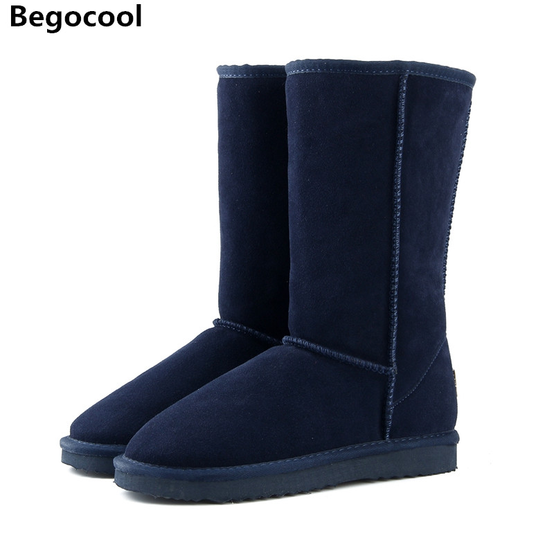 все цены на High Quality UG 100% Wool Snow Boots Women Fashion Genuine Leather Australia Classic Women's High Boot Winter Women Snow Shoes