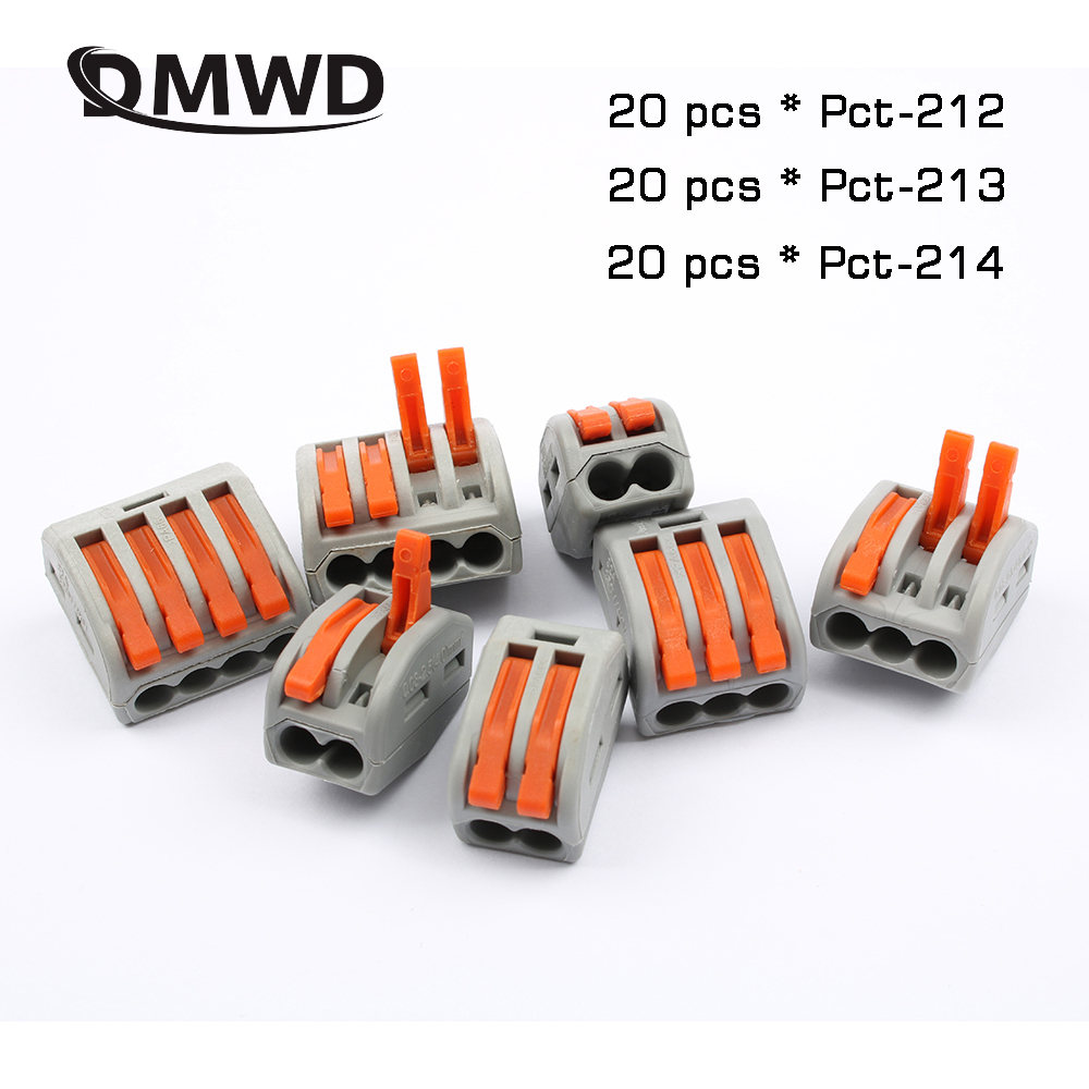 60pcs New type PCT-212 213 214 20pcs 2P + 20pcs 3P + 20pcs 4P Universal Compact Wire Connector Conductor Terminal Block поло print bar jamaica style