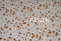 Off White Vintage Lace Fabric Hollowed Out Net African Daisy And Leaves Lace Fabric Floral Bridal