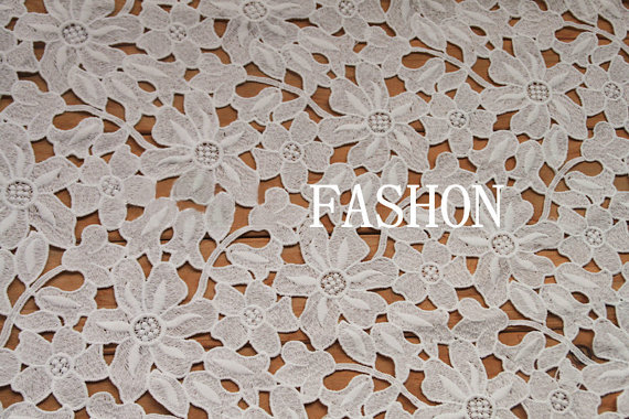 off White vintage lace fabric, hollowed out net African daisy and leaves lace fabric, floral bridal wedding lace fabric, MF040