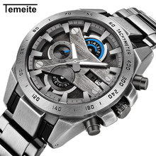 Temeite Military Watch Men Stainless Steel Mens Watches Top Brand Luxury Waterproof Quartz Wristwatch Male Chronograph Relogio fossil chase timer chronograph wristwatch mens with stainless steel mens watches top brand luxury fs5542p