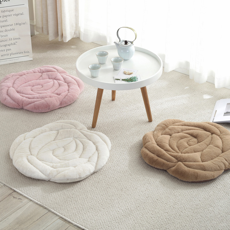 Floor Sitting Cushion Mattress Seat Cushion Pad Seat Sitting Floor Thick Soft Mat For Chairs Flower Design Round 53cm Diameter