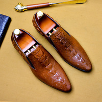 Mens Leather Shoes Genuine Leather Oxford Shoes for Men Luxury Dress Shoes Slip on Wedding Shoes Leather Brogues Plus Size 46