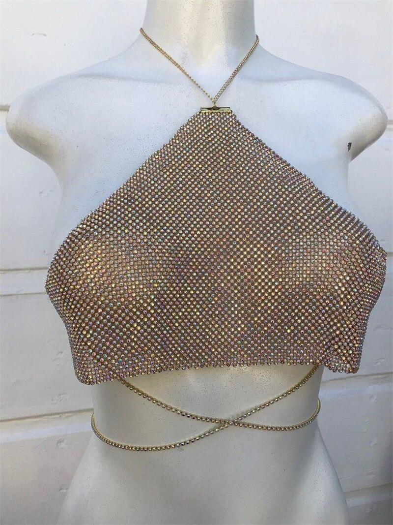 Sexy dos nu or rouge Bling diamants strass plaqué métal hauts licou Camis évider femmes bustiers accessoires été - 4