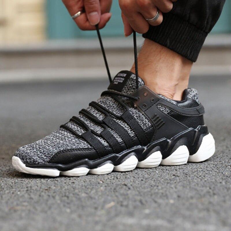 Nouvelles Grande La Sneakers Mâle Sport Taille Lumière Hommes À Baskets Chaussures 2018 white D'été Maille Et Respirant Black Automne De Mode grey pw4F4xq