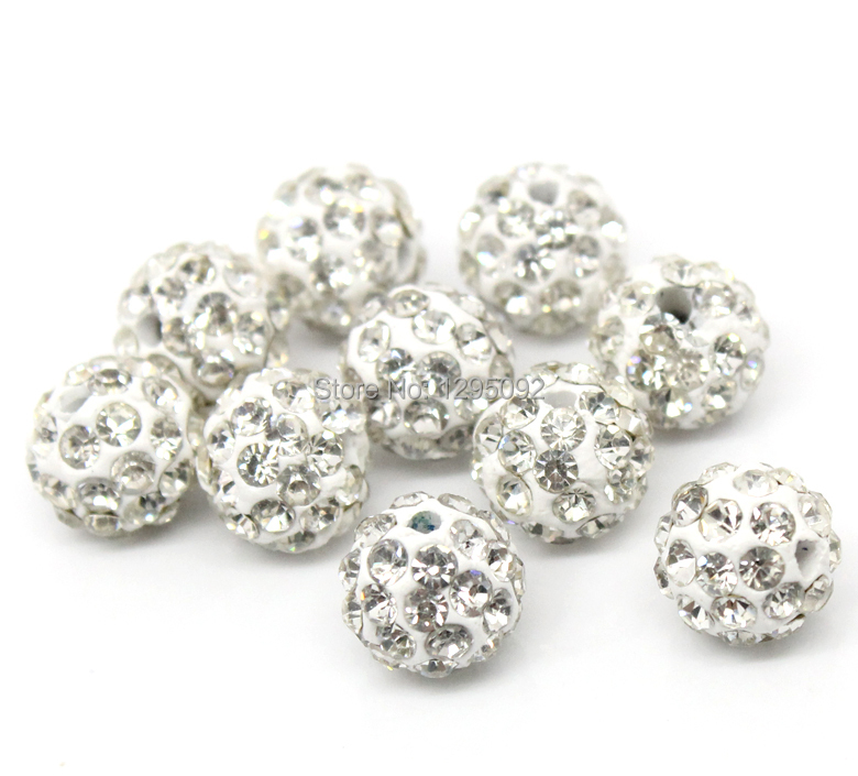 50Pcs White Pave Rhinestone Round Polymer Clay Ball Spacers Beads Jewelry Making Charms Findings Wholesales 10mm 3 8 quot Dia in Beads from Jewelry amp Accessories