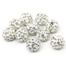 50Pcs White Pave Rhinestone Round Polymer Clay Ball Spacers Beads Jewelry Making Charms Findings Wholesales 10mm(3/8