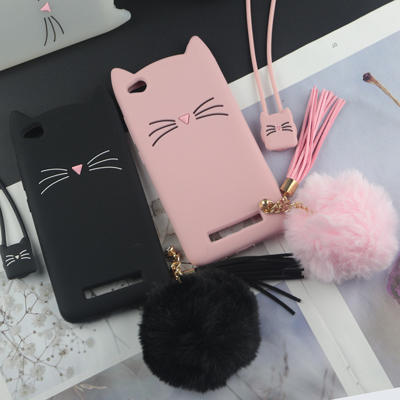 Cute 3D Cartoon Silicon Case For Xiaomi Redmi 4A Cases Japan Glitter Beard Cat Lovely Ears Kitty Phone Cover