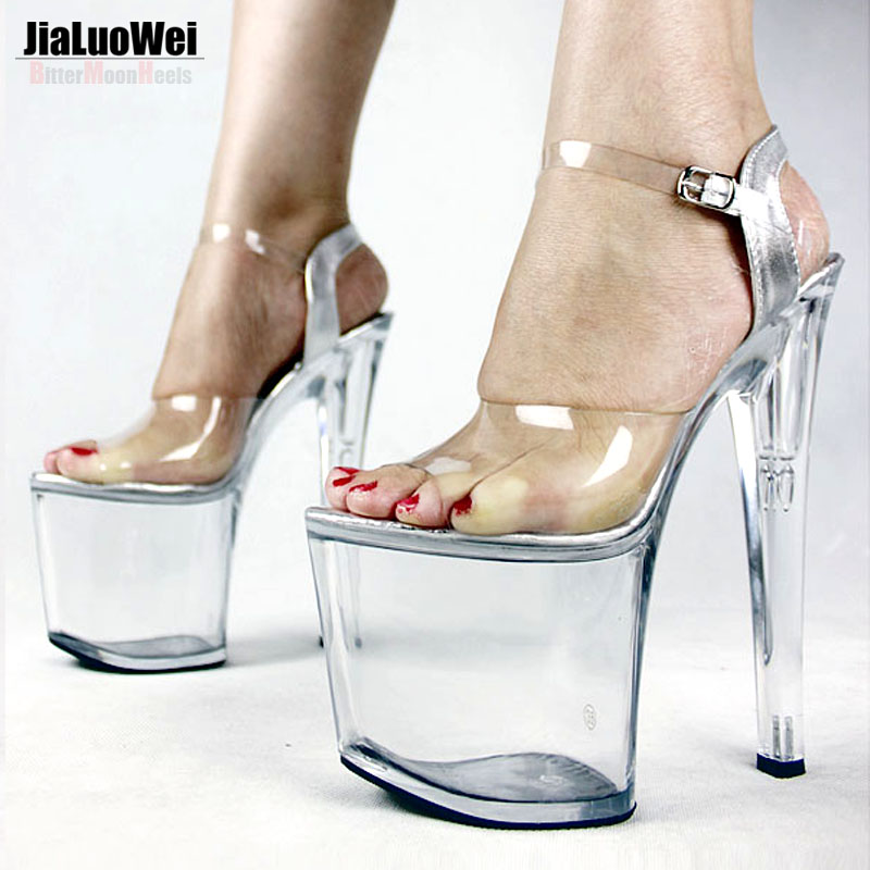 ФОТО Jialuowei Extreme high heel 8 inch sandals Women Transparent platform Open toe thin heels Strap Buckle Sexual dance Party Shoes